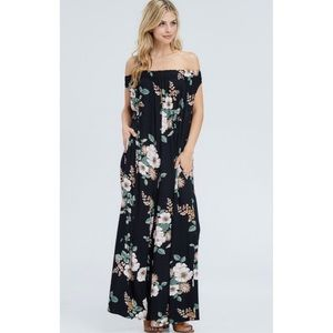 Off The Shoulder Floral Jumpsuit Romper in Black